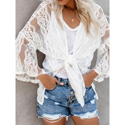 Lace Plain Mid-Length Women's Blouse
