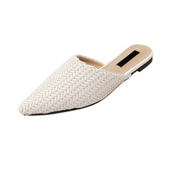 Shoespie Pointed Toe Woven Flat Slippers