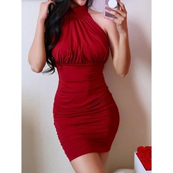 Sleeveless Above Knee Backless Bodycon Women's Dress