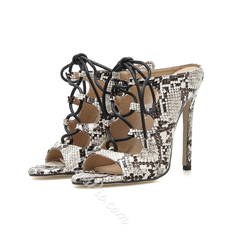 Shoespie Lace Up Serpentine Stiletto Heel Slippers