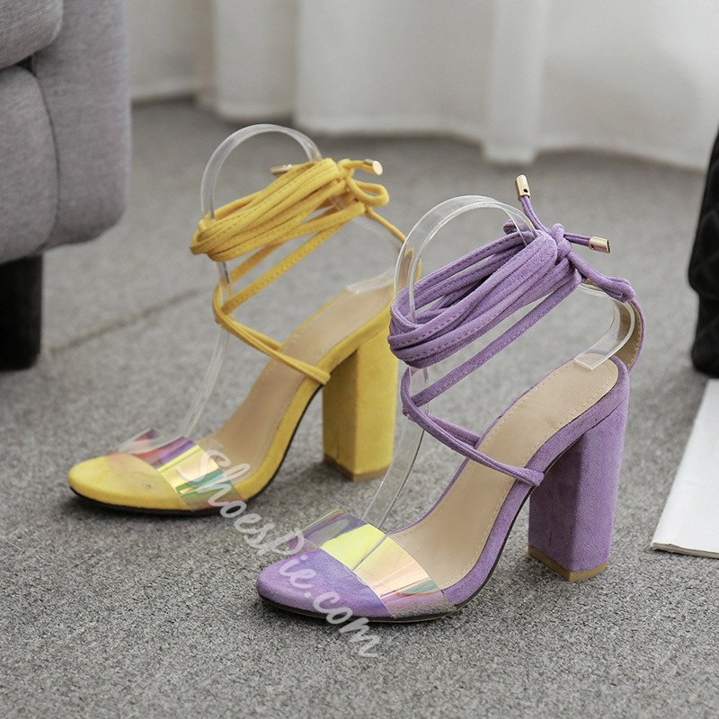Shoespie Strappy Clear Chunky Heel Summer Sandals
