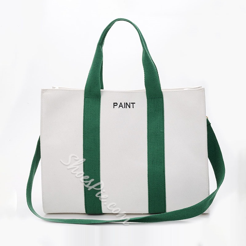 Shoespie Canvas Letter Patchwork Tote Bags