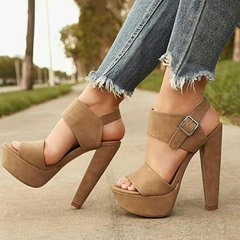 Shoespie High Heel Buckle Ankle Strap Sandals