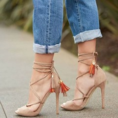 Shoespie Fringe Lace-Up Peep Toe Stiletto Heel Sandals