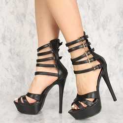 Shoespie Stiletto Heel Peep Toe Black Zipper Sandals