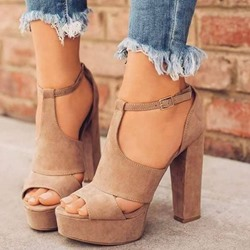 Shoespie Peep Toe Buckle Chunky Heel Sandals