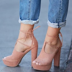 Shoespie Strappy Chunky Heel Peep Toe Sandals