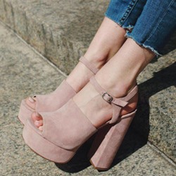 Shoespie Pink Chunky Heel Ankle Strap Sandals
