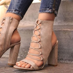 Shoespie Nude Chunky Heel Zipper Slingback Sandals