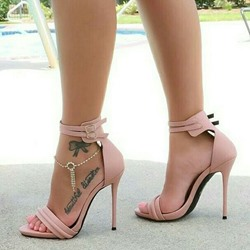 Shoespie Pink Solid Buckle Strap Stiletto Heel Sandals