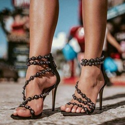 Shoespie Zipper Beaded Stiletto Heel Sandals