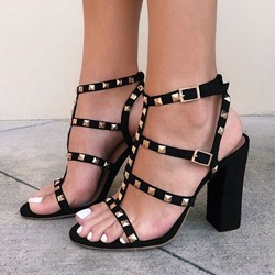 Shoespie Rivet Black Slingback Buckle Chunky Heel Sandals