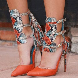 Shoespie Snake Pattern Buckle Tassel Stiletto Heels