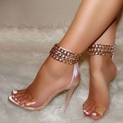 Shoespie Pink Clear Zipper Stiletto Heel Sandals