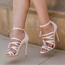Shoespie Tassel Open Toe Stiletto Heel Sandals
