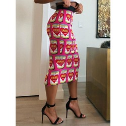 Bodycon Mid-Calf Color Block Office Lady Women's Skirt