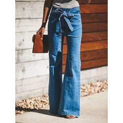 Bellbottoms Plain Belt Slim Women's Jeans