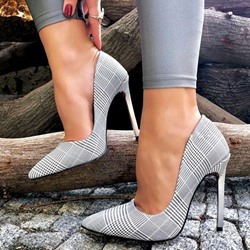 Shoespie Pointed Toe Stiletto Heel Plaid Pumps