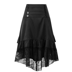 Asymmetrical Button Mid-Calf Office Lady Women's Skirt