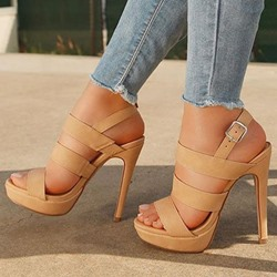 Shoespie Nude Slingback Stiletto Heel Sandals