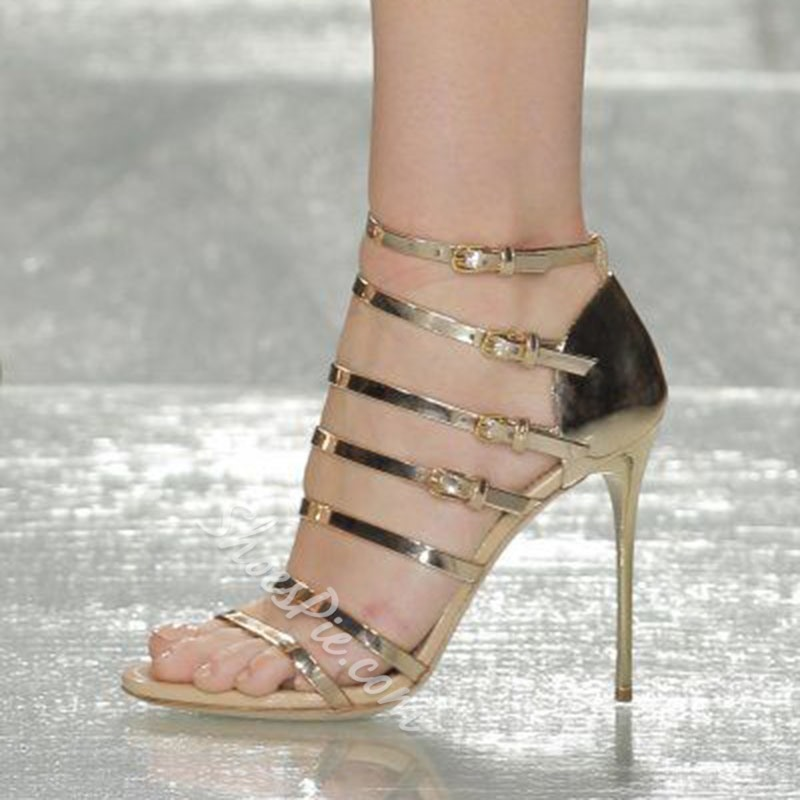 Shoespie Buckle Strap Stiletto Heel Gold Sandals