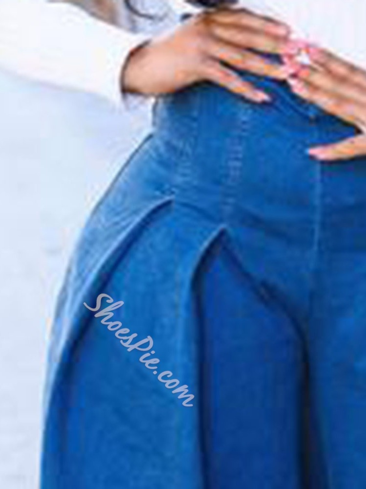 Wide Legs Plain Loose Women's Jeans