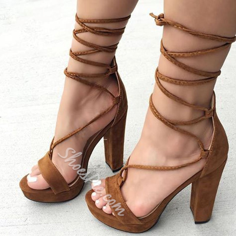 Shoespie Brown Lace-Up Chunky Heel Sandals