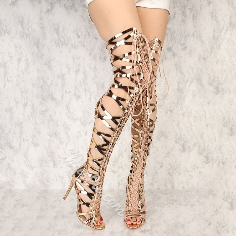 Shoespie Zipper Stiletto Heel Cross Strap Gladiator Sandals