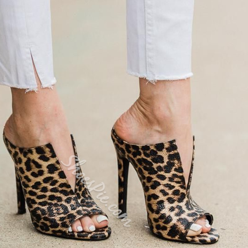 Shoespie Peep Toe Leopard Stiletto Heel Mules