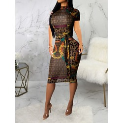 Mid-Calf Stand Collar Print Geometric Women's Dress