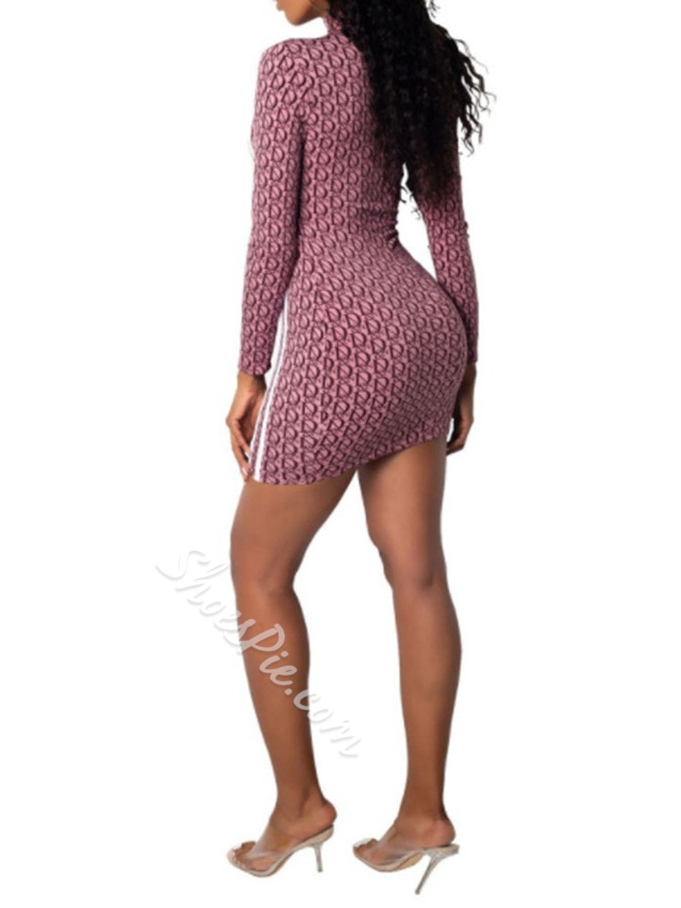 Print Above Knee Nine Points Sleeve Women's Dress