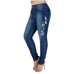 Pencil Pants Floral Embroidery Zipper Women's Jeans