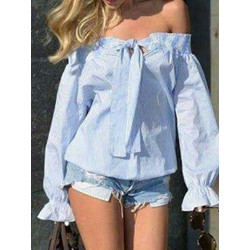 Stripe Off Shoulder Pleated Long Sleeve Women's Blouse