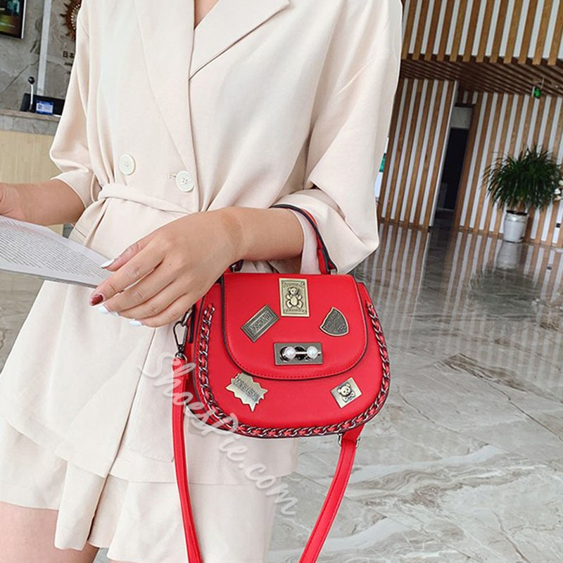 Shoespie Lock PU Rhinestone Crossbody Bags