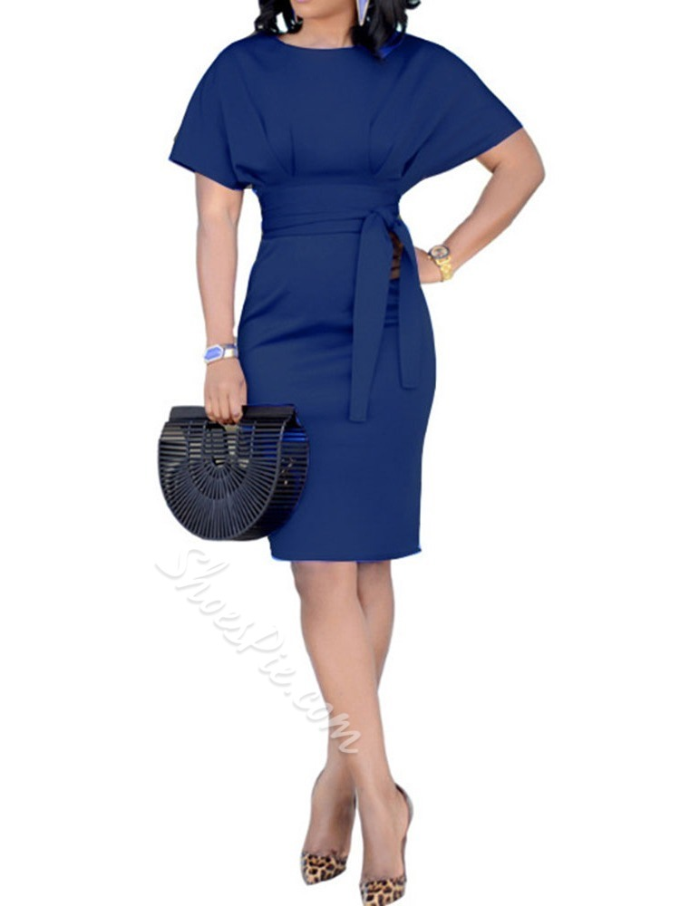 Round Neck Knee-Length Batwing Sleeve Women's Bodycon Dress