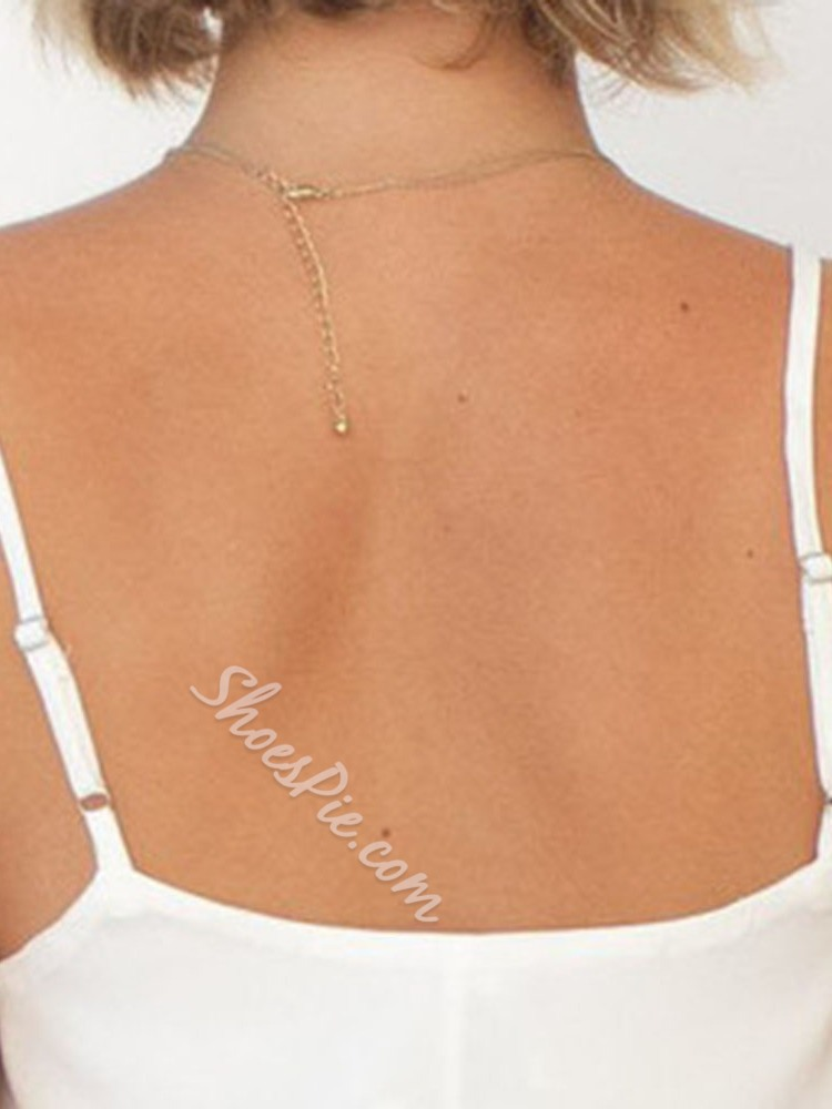 Spaghetti Straps Polyester Backless Mid-Length Women's Tank Top