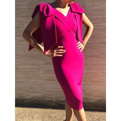V-Neck Mid-Calf Split Bodycon Women's Dress