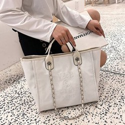Shoespie Letter Canvas Chain Tote Bags