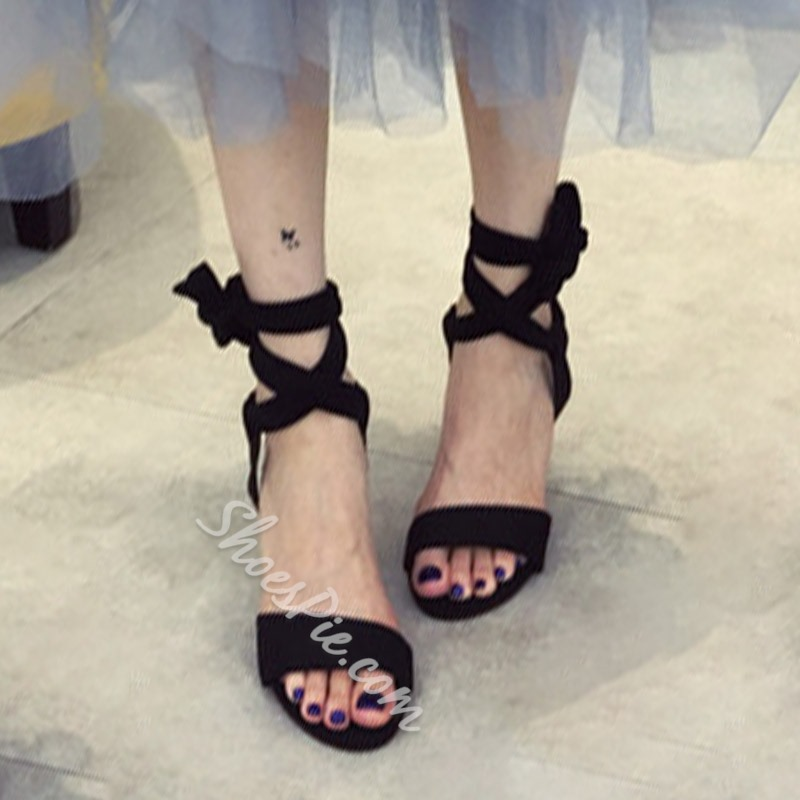 Shoespie Strappy Lace Up High Heel Sandals