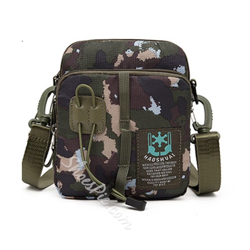 Shoespie Nylon Camouflage Print Rectangle Men's Bag