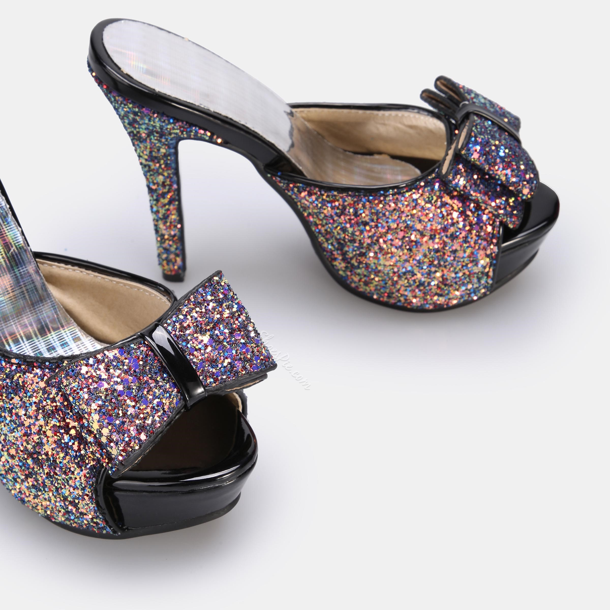 Shoespie Bow Glitter Stiletto Heel Slippers
