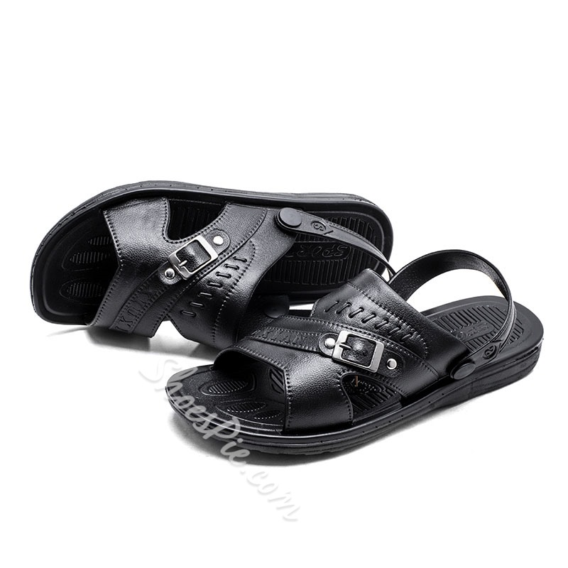 Shoespie Men's Black Buckle Sandals