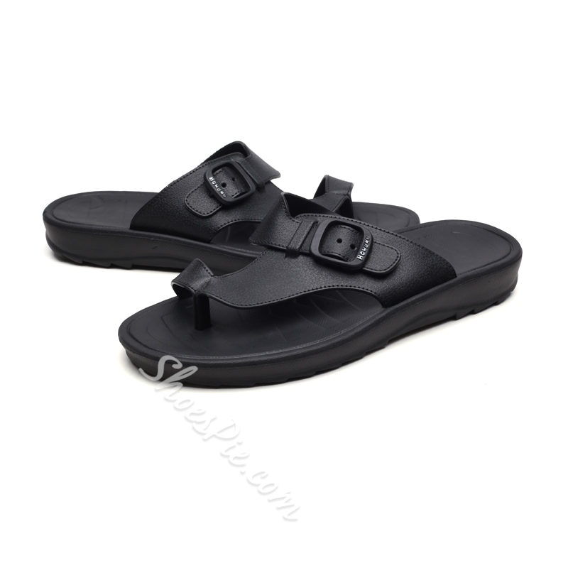 Shoespie Clip Toe Buckle Men's Slippers