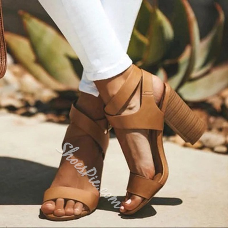 Shoespie Chunky Heel Buckle Ankle Strap Casual Sandals