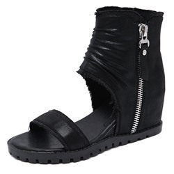 Shoespie Black Wedge Heel Zipper Sandals