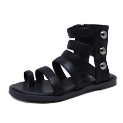 Shoespie Black Toe Ring Zipper High-Cut Sandals