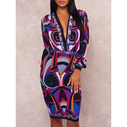 Print V-Neck Long Sleeve Women's Dress