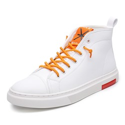 Shoespie Men's High Top White Skate Shoes