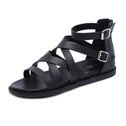 Shoespie Zipper Open Toe Black Sandals