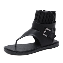 Shoespie Black Zipper Flat High Top Thong Sandals